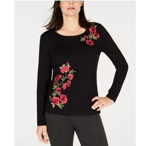 Karen Scott Tops - KAREN SCOTT Cotton Floral-Embroidered Top